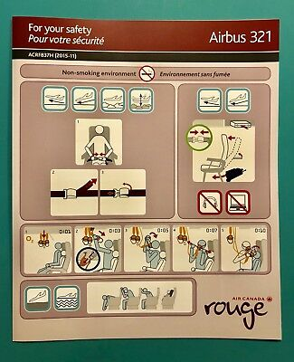 Air Canada Rouge Safety Card--Airbus 321- 2015