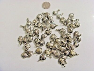 54 Antique Tajik Silver Hand Crafted Puff Bead Pendants Lot Arts Crafts Fv1004