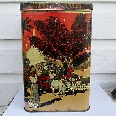Antique Large Ceylon 4 Sided Tea Mustard Biscuit Tin C1890S? Rd574847