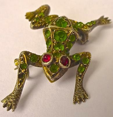 Quirky French Frog (Grenouille) Brooch: possibly Gold, Emeralds and Rubies!