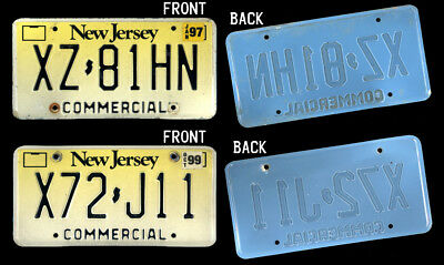 "2 NEW JERSEY NJ ""BLUE BACK"" Oddball COMMERCIAL License Plates #XZ-81HN #X72-J11"