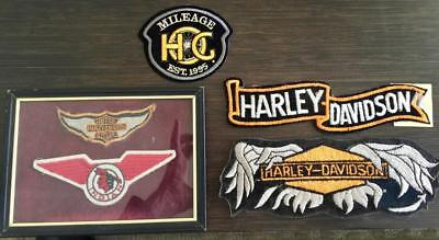 Vintage variety (5) Framed Indian Motorcycle Harley Davidson patches Broken wing