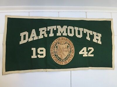 """1942 DARTMOUTH wool COLLEGE PENNANT BANNER  45"""" x 22"""" NEW HAMPSHIRE vintage"""