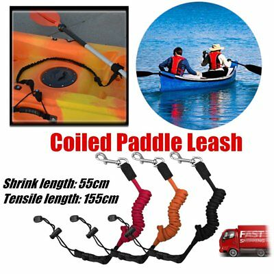 Elastic Coiled Paddle Safety Rod Leash Boats Raft Swivel Stretch Rope DR