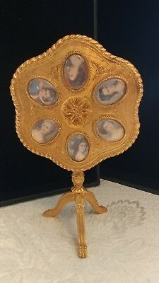 Rare Vintage Florenza Signed Tilt Top Vanity Table Cameo's