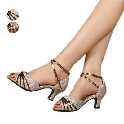 c11e9d25d Girls Samba Latin Tango Shoes Fashion Kitten Heels Shiny Faux Leather  Sandals