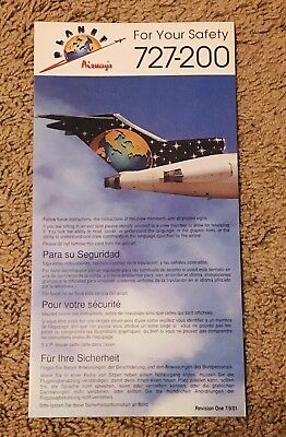 Planet Airways 727-200 Airline Safety Card
