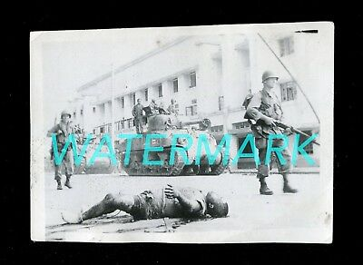 WWII SNAPSHOT PHOTOGRAPH PHILIPPINES SHERMAN TANKS WITH CORPSE - circa 1944