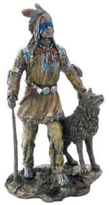 Plains Indian With Wolf Figurine Statue Sculpture - *GREAT HOLIDAY GIFT!