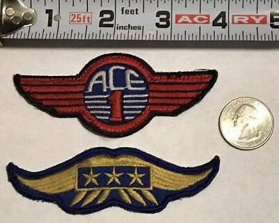 Airplane Pilot ACE 1 Wings Patch / Blue & Gold 3 Star Wings Patch  FREE SHIPPING