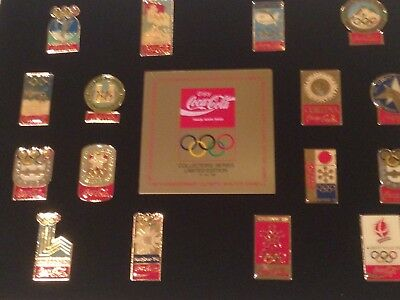 16th Anniversary Winter Olympics Coca-Cola  Framed 16 Pin Set