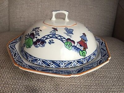 Antique Woods And Sons Dbc Westover Covered Serving Dish Blue White China