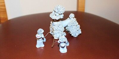 Vintage Rare Blue Ceramic Spaghetti Poodle with Puppies on Chain, (Nice).