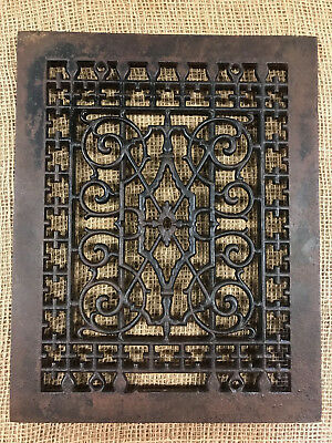 Antique Cast Iron Ornate Register Grate - Art Deco - Primitive Heating