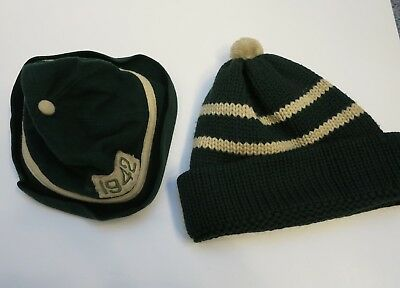 Lot of 2 Vintage 1942 Dartmouth College hats Green Felt Beanie Hat and Ski cap