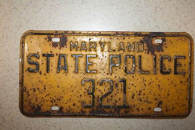 Maryland State Police License Plate - vintage