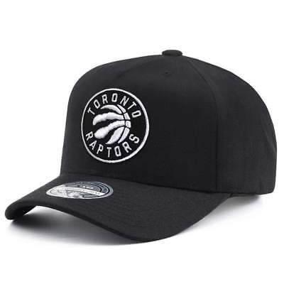 Toronto Raptors Mitchell & Ness NBA Black & White 110 Curve Snapback Hat