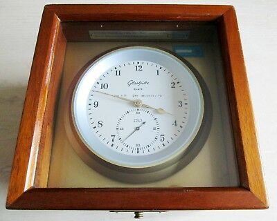 Glashütte 2043 Quartz Marine Εlectromechanical Chronometer Clock Mahogany Wood