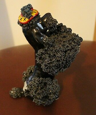 Vintage Rare Black Ceramic Spaghetti Poodle with Tag, (Nice).