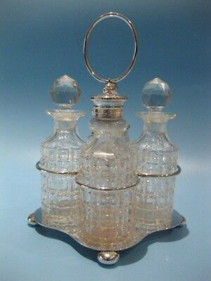 Beautiful Antique Victorian Silver Plated & Hand-Cut Crystal 4 Bottle Cruet Set
