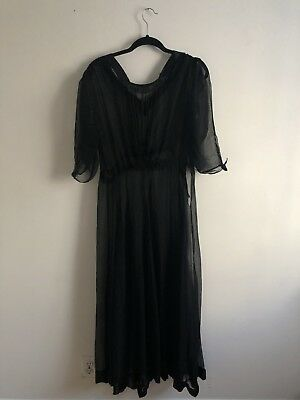 Antique Victorian Era Dress Vintage Black Sheer