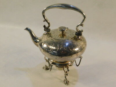 Antique Elkington & Co. Engraved Hinged & Pinned Silver Plate Teapot On Stand