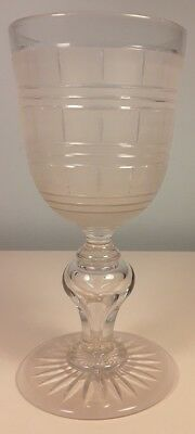 Very Large Glass Goblet with Frosted Etched Cut Panels and Hollow Stem, Rummer