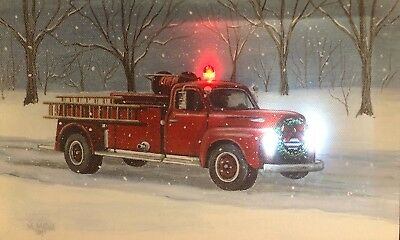 Fire Truck LED Light Up Lighted Canvas Painting Picture Wall Art Home Decor