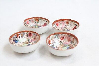 Set of 4 Old Japanese Kutani Porcelain 3 Footed Geisha Scene Tea Bowls Meiji