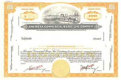 American Commercial Barge Line Company. SPECIMEN. Stock Certificate