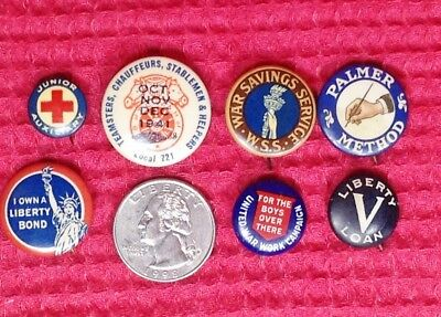 Lot of 7 Vintage WW2 and Assorted Buttons Pins Liberty War Savings Union Bonds