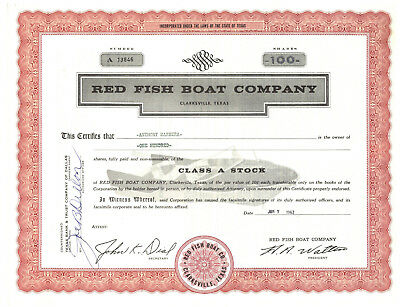 Red Fish Boat Company. Stock Certificate. Clarksville, Texas 1962