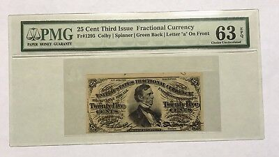 25 Cents Fractional Currency Third Issue Pmg Choice Uncirculated 63 Epq Fr-1295