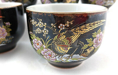 Vintage Japanese Tea Cups Bird Of Paradise Flowers Gold Accent Black Set Of 5