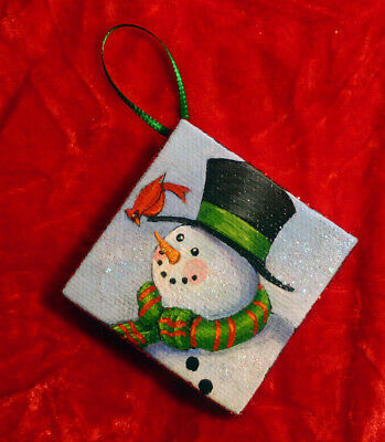 HANDPAINTED CHRISTMAS ornament Snowman cardinal glitter bird winter Holiday