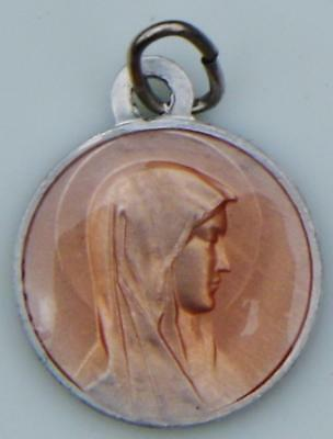 Lovely Vintage Rose Enamel Holy Medal Virgin Mary Our Lady Lourdes Catholic