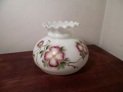 """Vintage White Glass Hurricane Lamp Shade Oil Floral Hand painted Ruffled 6 3/4"""""""
