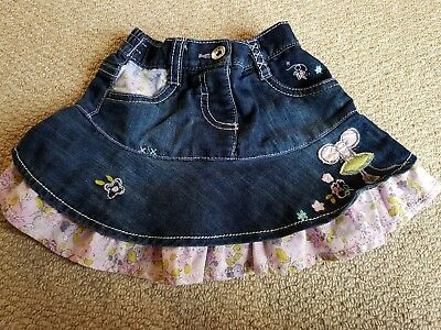 Next Baby girl 6-9 months Denim Frill Skirt