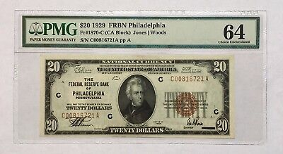 1929 $20 Philadelphia Frbn, Pmg Choice Uncirculated 64 Banknote