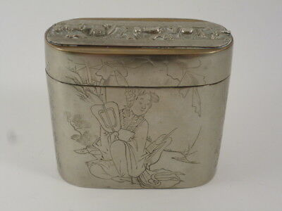 Antique Chinese Engraved Brass Metal Trinket Box