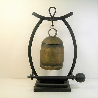 """Antique Chinese Hand-Wrought Bell Gong Wrought Iron Stand 12 1/2"""" Tall"""