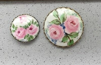 Pair  Vtg. Hand Painted Ceramic In Metal Sewing Buttons Pretty Pink Roses