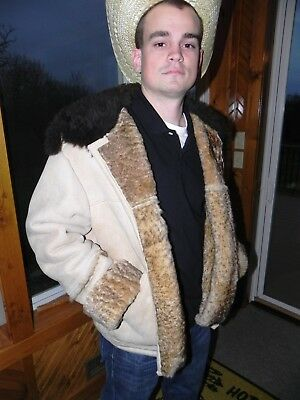 Overland Sheepskin Shearling Vintage Bomber Coat size 44 made in Taos, NM, USA