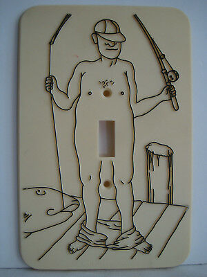 Vintage 1976 Flash It Corp Light Switch Cover Plate Fisherman