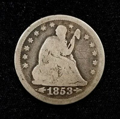 1853 Seated Liberty Quarter, Arrows at Date, Rays on Reverse variety!