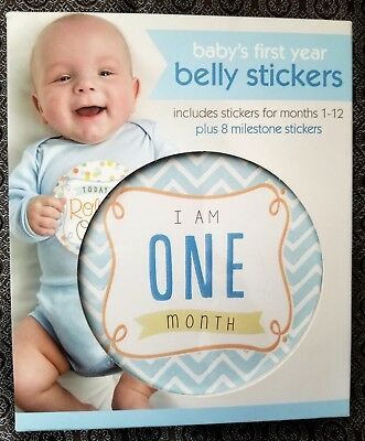 Baby's First Year Belly Stickers Boy Months 1-12 Plus 8 Milestone Stickers NEW !