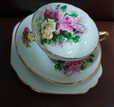 Beautiful Vintage Stanley China Trio #389/11 Green with Roses English High Tea