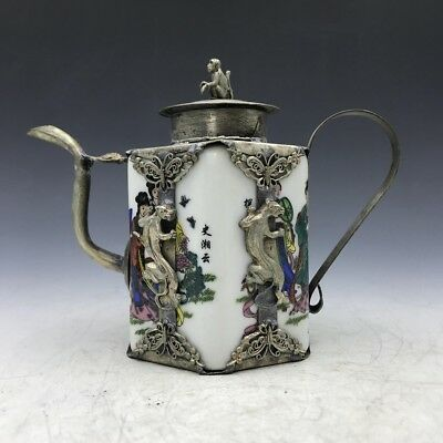 Chinese ancient Tibet silver handmade inlay ceramic beauty flagon a898
