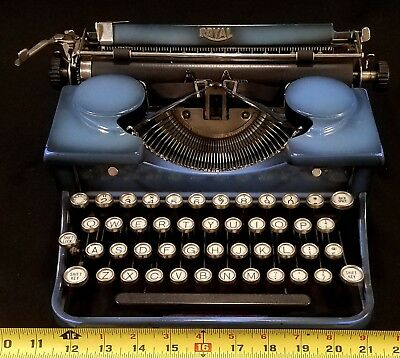 1930's Royal Model P Portable Typewriter with case! Blue with white keys! WORKS!