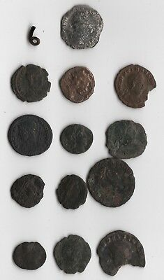 13 Cleaned Ancient Roman Coin Lot 6 Silver and Bronze Coin Lot